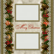 Christmas decorations with lace and frames on vintage background — Stock Photo