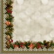 Borders of Christmas decorations with lace on vintage background — Stock Photo