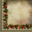 Stock Photo: Borders of Christmas decorations with lace on vintage background
