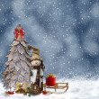 Winter background with a snowman and Christmas trees — Stock Photo #34651467