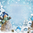 Christmas background with snowman and gifts — Stock Photo