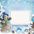Christmas greeting card with frame — Stock Photo