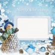 Christmas greeting card with frame — Stock Photo #34711487