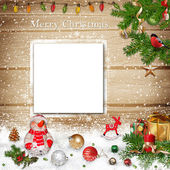 Christmas greeting background with card — Stock Photo