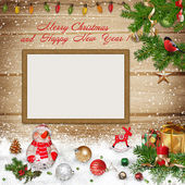 Christmas greeting background with frame — Stock Photo