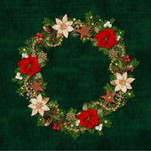 Christmas wreath on a green vintage background — Stock Photo