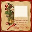 Beautiful vintage background with Christmas decorations and the frame for photo — Stock Photo