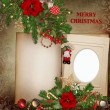 Frame with gorgeous Christmas decorations on vintage background — Stock Photo