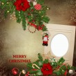 Frames with gorgeous Christmas decorations on vintage background — Stock Photo