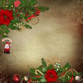 Vintage achtergrond met mooie kerstdecoraties en plaats voor tekst of foto — Stockfoto