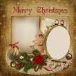 Christmas greeting card with frame, decoration and space for text — Stock Photo