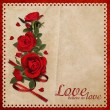 Bouquet of red roses on a beautiful vintage background with space for text — Stock Photo #37984357