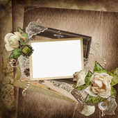 Vintage shabby background with frame, faded roses, old letters — Zdjęcie stockowe