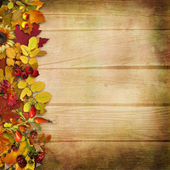 Border of autumn leaves and berries on a wooden background — ストック写真