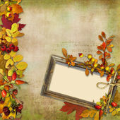 Wooden frame with autumn leaves and berries on a vintage background — Stock Photo