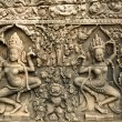 Apsara carved on the wall of Angkor Wat, cambodia — Stock Photo