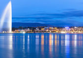 Lake geneva Switzerland Night — Stock Photo