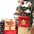 Christmas Tree and Gifts. Over white background. — Stock Photo