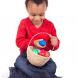 Child Boy kid holding up his easter basket  — Stock Photo