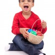 Child Boy kid holding up his easter basket — Stock Photo #21366155
