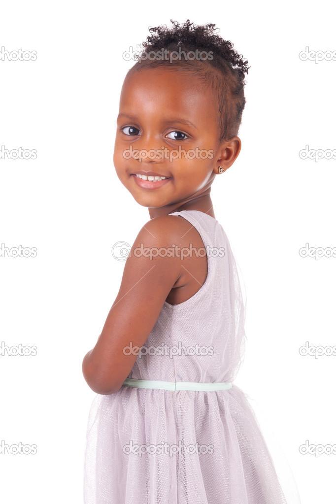 在白色背景上可爱的非洲小女孩– 图库图片