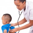 African american woman doctor with child — Stok fotoğraf