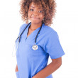 African young nurse isolated on white background — Stock Photo