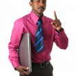 Black Afro american businessman with tie and computer — Stock Photo #9398161