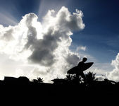 サーファーのシルエット — ストック写真