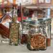 Pretty Jars With Dried Herbs - Stockfoto