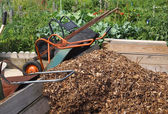Wheelbarrows Community Mulch — Stock Photo