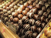 Chocolate Truffles In DisplayCase — Stock Photo