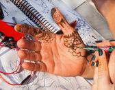 Henna Tattooing on Hand — Stock Photo