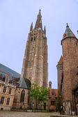 церковь богоматери в городе брюгге — Стоковое фото