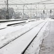 Railway station in winter — Stock Photo