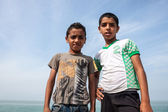 Small boys pose in Hormoz village — Stock Photo