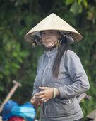 Woman at Cai Rang Floating Market — Stock Photo