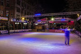 Ice skate rink at Christmas market — Stockfoto