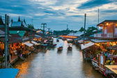 Ampahwa floating market — Stock Photo