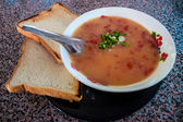 Tomato soup with toasts — Stock Photo