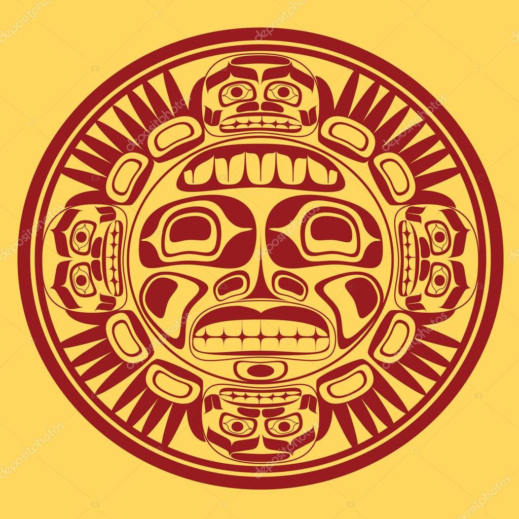Vector illustration of sun symbol stylized in native North American, Canadian art. — Stock Vector #16637451
