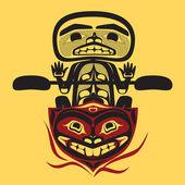 Homme pêcheur native north american vector — Vecteur