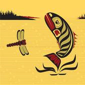 Canadian Native North West Art, vector fish — Stock Vector