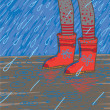Vector illustration of heavy rain, rubber boots — Stok Vektör