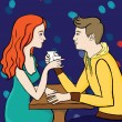 Stock Vector: Couple in caffee