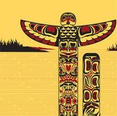Illustration av en nordamerikanska totempåle — Stockvektor