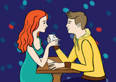 Couple in caffee — Vector de stock