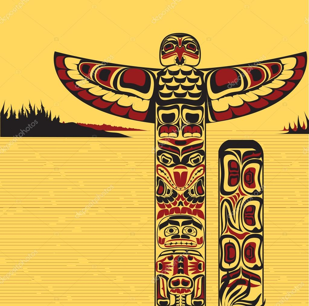 totem pole, made in Canadian native art style — Vector by tukkki