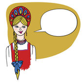 Fair haired blonde girl in Russian folk dress. — Vector de stock