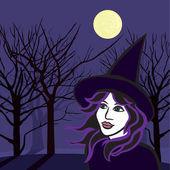 Witch with ghosts, halloween vector illustration — Stock Vector
